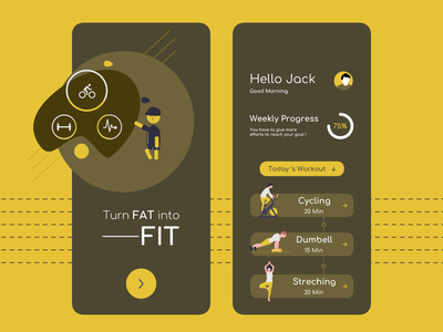 Fitness app healthcare health fit workout of the day workout tracker fitness app colors color ux app ui design