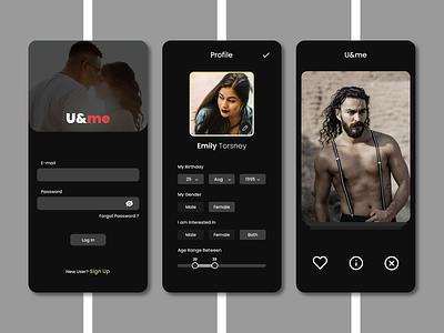 U&me dark ui ux app dating app ui design