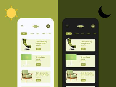 Furniture online shopping online store e commerce green logo furniture app light mode dark mode color app ui design
