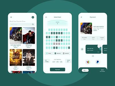 Movie Booking App online booking booking system movies movie app booking app colors color ux app ui design