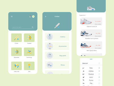 Online Sport Store simple all sport estore ux color app design esport ga store app ecommerce ui sketch online sport store