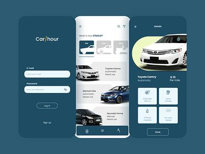 Car/hour rent car car rental car booking app car logo booking app color ux app ui design