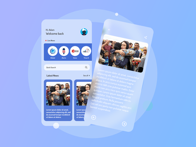 News App ui news online news app newsfeed glassmorphism color ux app ui design