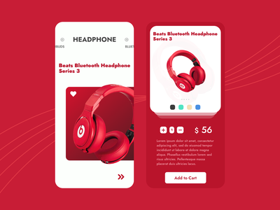 The Music Shop waves adobexd figmadesign sketchapp parthchaudhary inspiration uxdesign novuslogics audio shopping cart purchase ecommerce red and white beats by dre detail page product bluetooth earbuds headphones music