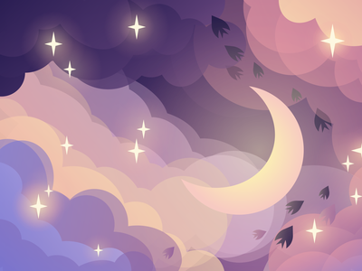 Night fairy tale web moon vector landscape kids art design vectorart