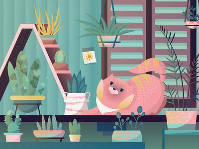 Сat in cacti typography minimal vector kids art cute design vectorart illustration