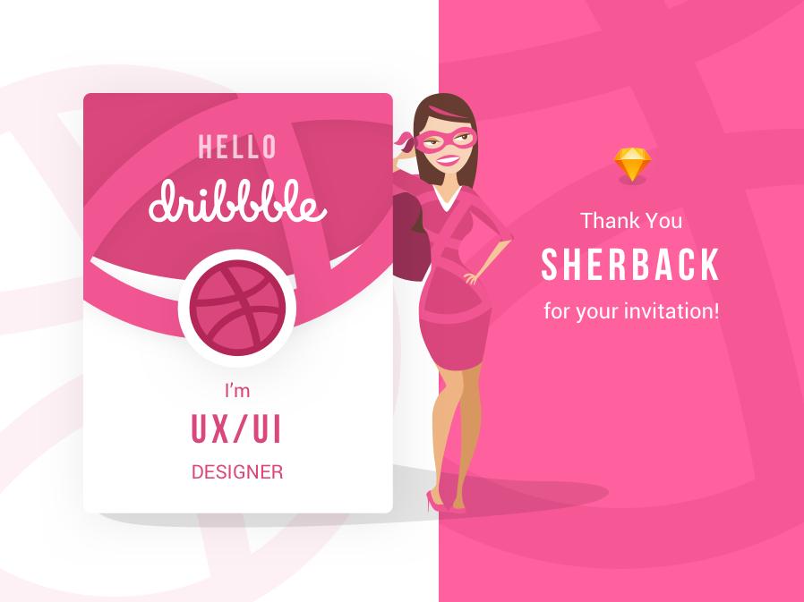 Hello Dribbble! sketch vector design web hello dribble ux ui invitation invite thank you thanks dribbble illustration