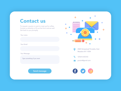 Contact us #DailyUI mobile contact dailyui branding paviart web app ui website illustration design