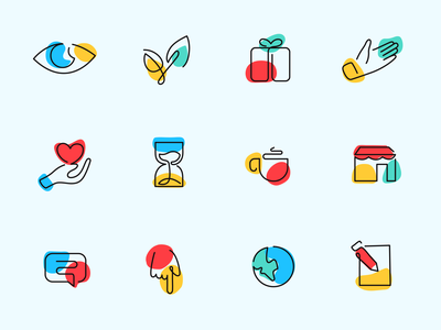 Icon Set Line with Color iconset illustrator icon logo minimal branding flat paviart app illustration design