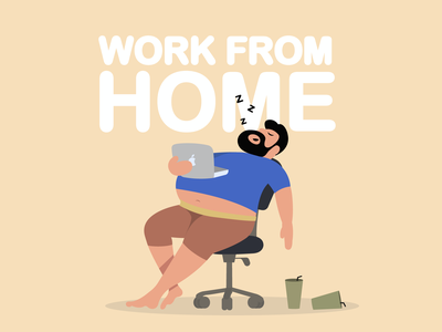 work from home fat sleep lazy wfh work branding ux flat paviart web ui app website illustration design