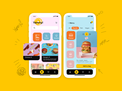 Yammy! Food delivery service food mobile app icon ux ui design