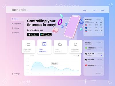 Bankoin web concept landing web 3d illustration ux ui icon design