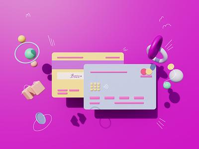 3D credit card illustration graphic design illustration 3d ui design