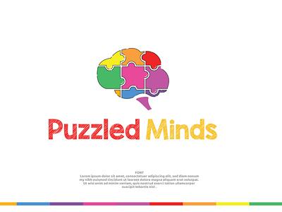 Puzzle Minds   kids logo design toy shop logo mind logo kids logo chalkboard logo chalkboard logo colorful logo puzzle brain brain logo puzzle logo