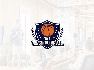 Emblem logo design   The coaching baller blue emblem logo sports logo coaching logo 3d typography emblem logo basketball logo