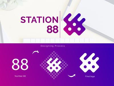 Creative Grid logo   Station 88 restaurant violet color purple gradient futuristic tech logo logo mark grid logo 88 logo creative logo number 88 restaurant logo