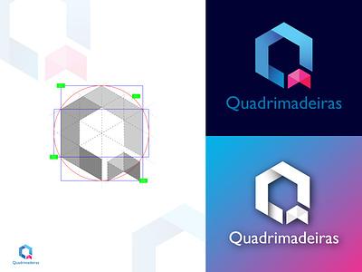Q letter geometric logo design minimalist logo design blue purple violet brand identity letter shape mark creative letter logo grid logo geometric q letter logo