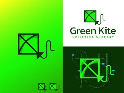 Green kite logo design green organization logo logodesign simple logo grid logo minimalist kite logo kite logo blue kite green kite