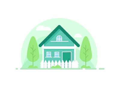 Green House illustration mountain tree house
