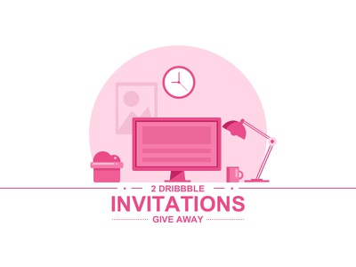 Dribbble Invations   illustration computer cup lump desk invitation invite dribbble