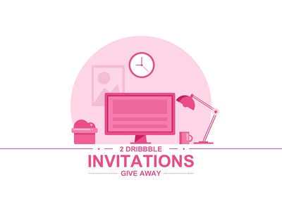 Dribbble Invations   illustration computer cup lump desk invitation invite dribbble