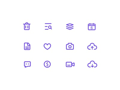 Weekly Project-line style icons week  massage cloud camera like delete icon