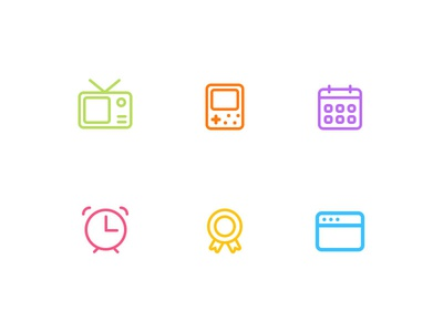 Weekly Project-line style icons week  icon line web decoration clock calender player television
