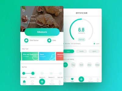Dribbble 100day 009 data homepage app healthcare measure