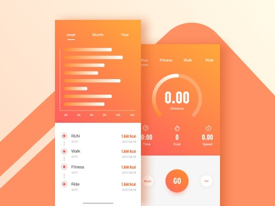 Dribbble 100day 010 walk run fitness sport app color icon
