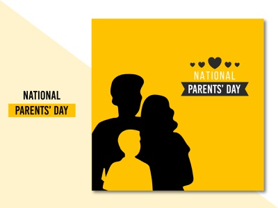 Lovely National parents' day background design banner poster social media design minimal modern festival parents ux ui illustration concept flat clean creative brand branding design
