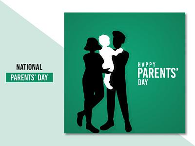 Lovely National parents' day background design free vector banner poster social media parents modern ux ui flat illustration concept clean creative brand branding design