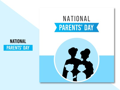 National parents' day design with blue and white background free modern poster banner social media parents ux ui illustration flat concept clean creative brand branding design