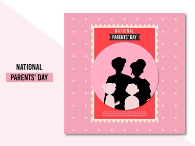 Happy National parents' day background design free vector banner poster modern parents ui illustration flat concept clean creative brand branding design