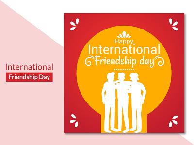 International friendship day greetings background design 2d colourful beautiful modern banner poster social media ux ui illustration concept flat clean creative brand branding design