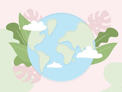 Sustainability Illustration vector plants leaves world illustrator sustainable development ethical design ethical business sustainability vectorart drawing illustration
