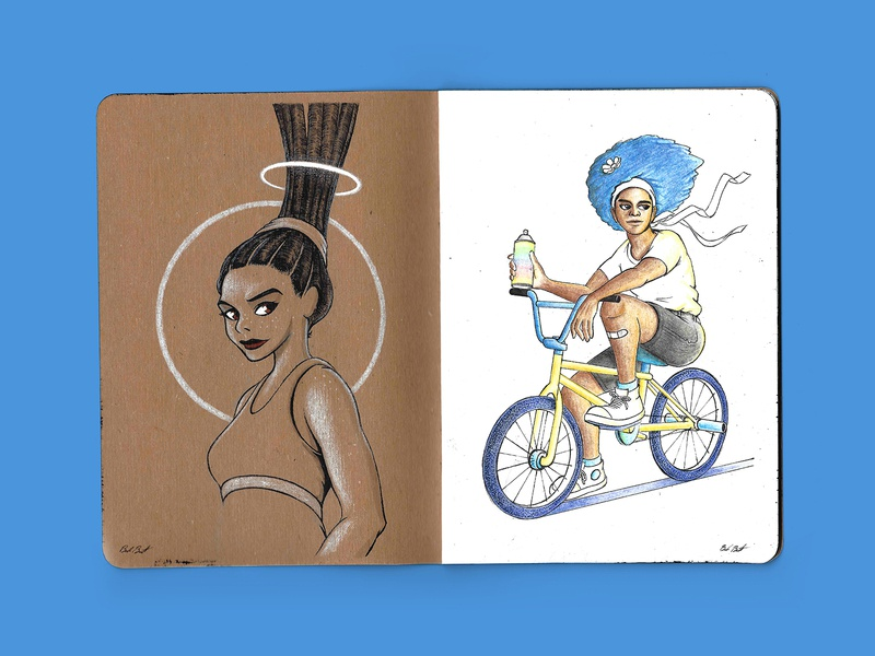 The Sketchbook Project - First Pages afro dreadlocks spraypaint bike colored pencil ink sketch illustration drawing characters original character sketchbook