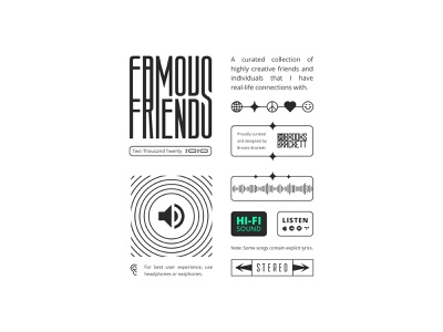 Famous Friends Playlist Introduction ear layout design smiley face heart peace sign star globe listen stereo soundwaves friends playlist music