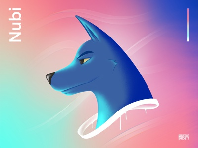 Nubi - Original Character Profile collar waves procreate drips doberman dog profile illustration gradient character design character