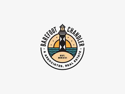Barefoot-Chandler & Associates Logo sun sky real estate ocean logo lighthouse coastal coast