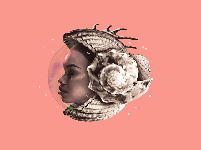 Black Pearl #1 beauty underwater series photoshop image manipulation pearls oyster shells girl black