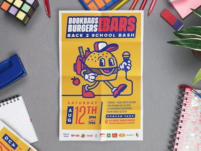 Bookbags, Burgers, and Bars event fun summer supplies poster print flier back to school bbq bars burgers bookbags