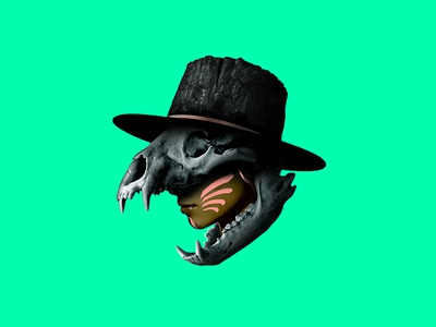 Fossilitas No. 1 fnaf stump face paint hat teeth woman photoshop archaic skull bear fossil
