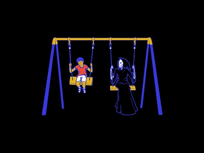 Mood Swing skeleton dark demon fun swingset boy kid play grim reaper skull halloween death child swing mood