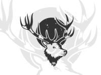 Dribbble Right Side Deer Head Blackwhite Logo