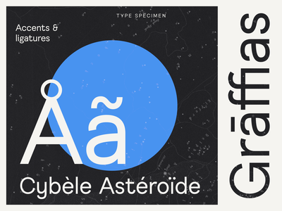 Quentin Sans Accents & ligatures typography typedesign typeface map logo celestial graphic branding