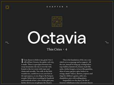 Invisible Cities website - City page story invisible cities calvino italo gold website novel book illustration typography