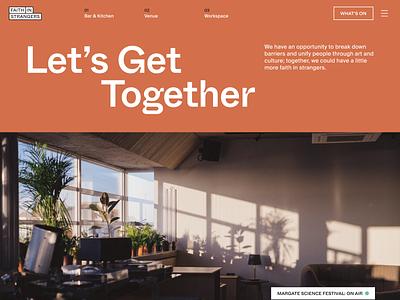 Faith in Strangers culture music workspace cafe venue minimal branding flat typography website ui