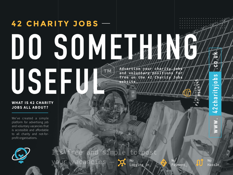 42 Charity Jobs Flyer dark editorial print brochure flyer earth moon astronaut charities space typography type