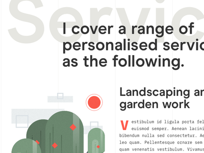 Services page lines grid layout typography illustration clean minimal service ux ui
