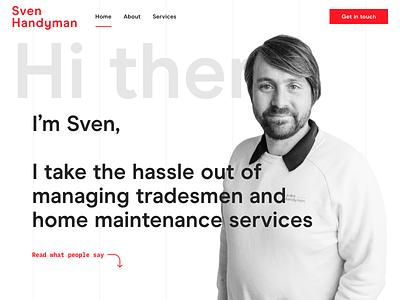 Sven Handyman homepage minimal lines grid landing graphic ui ux development design